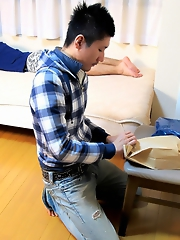 Two hot Asian boys play with toys.